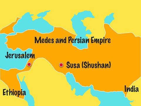 Xerxès Ier (486-465), nommé Assuérus dans la Bible, est le puissant roi de Perse qui règne sur 127 provinces depuis l'Inde jusqu'en Ethiopie.