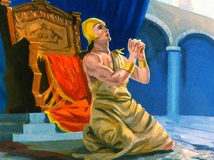 Le roi lui-même retire son manteau pour se couvrir d'un sac et s'assoir sur la cendre. Il fait faire dans Ninive cette proclamation: que les hommes et les bêtes, les bœufs et les brebis ne goûtent de rien, ne mangent pas et ne boivent pas d'eau!