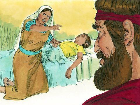 La veuve de Sarepta en veut au prophète Elie et pense qu'il est responsable de la mort de son fils. Elle lui dit : « Qu'as-tu contre moi, ô homme du vrai Dieu ? Es-tu venu chez moi pour me rappeler ma faute et faire mourir mon fils ? »