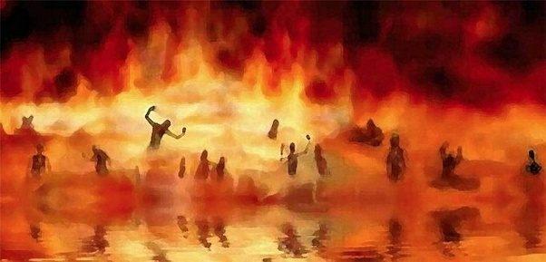 L'enfer est décrit comme un lieu de tourments terrible, obscur, angoissant, avec des flammes, des animaux féroces, des fosses ardentes, des marécages fétides, des objets coupants… La souffrance atteint son paroxysme, la douleur est extrême, interminable.