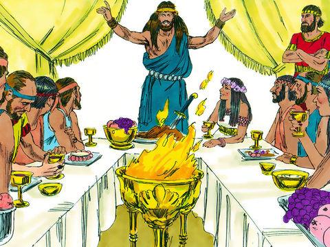 Samson a tué un lion à mains nues puis un essaim d'abeilles s'est installé dans le corps de l'animal. Samson invente une énigme et la propose à ses 30 amis.