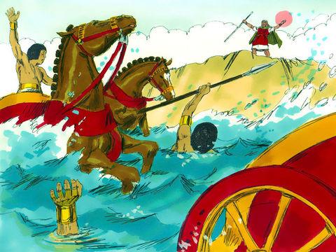 Les Égyptiens qui ont poursuivi les Israélites alors qu'ils traversaient miraculeusement la mer Rouge sont morts noyés. Moïse et le peuple d'Israël ont traversé la mer Rouge sains et saufs.