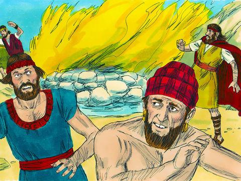 En voyant cette démonstration de puissance les Israélites tombent à genoux face contre terre et s'exclament: «Jéhovah est le vrai Dieu ! Jéhovah est le vrai Dieu !» Après la mise à mort des prophètes de Baal, Elie annonce l'arrivée de pluies torrentielles