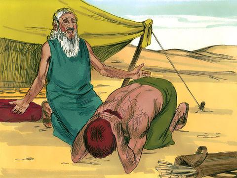 Lorsque Esaü entendit les paroles de son père, il poussa de forts cris, pleins d'amertume, et il dit à son père : Bénis-moi aussi, mon père ! Isaac dit : Ton frère est venu avec ruse, et il a enlevé ta bénédiction ».