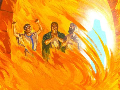 Shadrak, Meshah et Abednego ont été sauvés dans la fournaise de feu, insensibles aux flammes et à la chaleur intense. Un ange est à leurs côtés.