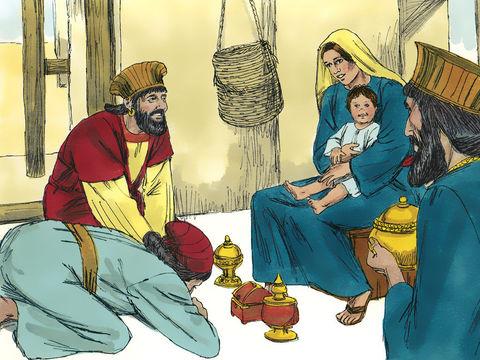 Jésus est né Bethléhem en Judée, à l'époque du roi Hérode. Des mages venus d'Orient arrivent à Jérusalem et disent: « Où est le roi des Juifs qui vient de naître? Nous avons vu son étoile en Orient et sommes venus pour l'adorer, offrir encens, myrrhe, or