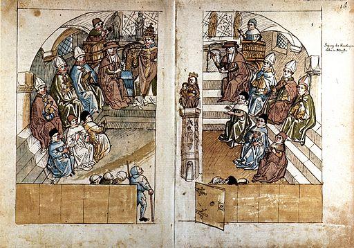 En novembre 1414, sous la pression de l'empereur Sigismond, l'antipape Jean XXIII convoque le concile de Constance. Un jugement rendu dans la cathédrale de Constance condamne solennellement Jan Hus comme hérétique. Il est condamné à être brûlé vif.