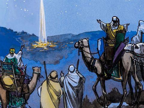 Guidés par l'étoile, les mages trouvent Jésus et se prosternent et l'adorent. Ils lui offrent des présents de grande valeur : de l'or, de l'encens et de la myrrhe.
