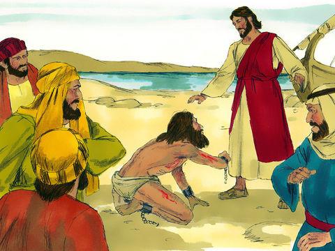 Alors que Jésus arrive au pays des Gadaréniens, un homme possédé depuis longtemps, ne portant pas de vêtements, rompant toutes les chaînes et les liens en fer et vivant dans les tombeaux pousse un cri en voyant Jésus.