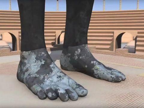 Les pieds de la statue de la vision de Nébucadnetsar représentent à l'ensemble des nations du temps de la fin unies entre elles par des alliances internationales