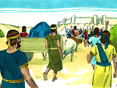 Le roi David ramène l'arche à Jérusalem, l'arche de l'alliance se trouve dans un chariot tiré par des bœufs. L'arche de l'alliance ne doit être ni vue ni touchée sous peine de mort.