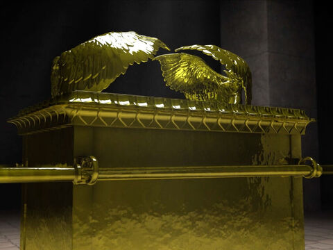 L'arche de l'alliance en bois d'acacia recouvert d'or pur 2 chérubins aux ailes déployées sur le propitiatoire