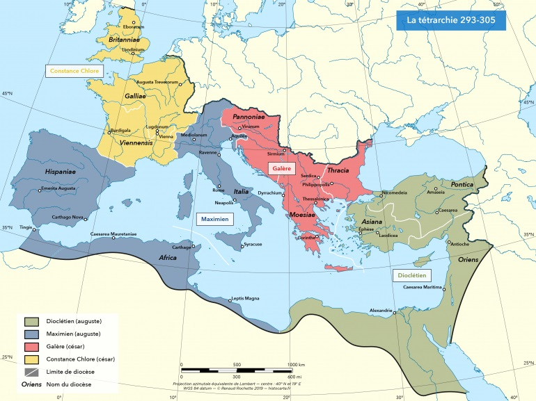 La Tétrarchie Dioclétien – Galère / Maximien Hercule – Constance Chlore se partagent l'Empire romain. Ces empereurs ont persécuté les chrétiens.