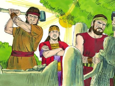Le roi Josias ordonne alors au grand-prêtre Hilkija, aux prêtres adjoints et aux gardiens du Temple de Jéhovah d'y démolir les logements des prostitués et d'en faire sortir les faux dieux et tous leurs ustensiles ainsi que le poteau sacré pour les brûler.