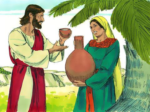 Jésus propose à la Samaritaine l'eau de la vie qui ne s'épuise jamais. C'est la vraie connaissance de Dieu, celui qui en boit n'aura plus jamais soif.