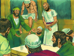 Une tempête se lève, tous ont peur. L'apôtre Paul est prévenu par un ange. Il rassure l'équipage, Dieu les sauvera.