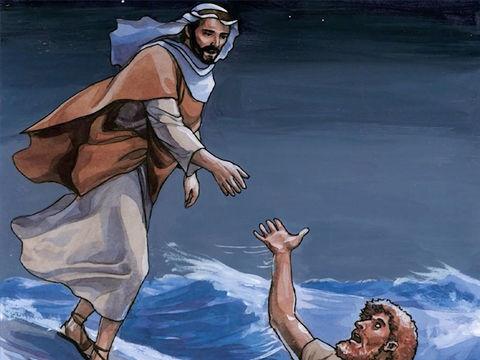 Jésus me tend la main pour m'empêcher de me noyer. Je suis sauvé. Mais suis-je sauvé pour toujours? Non. Je pourrais à nouveau tomber et me noyer.