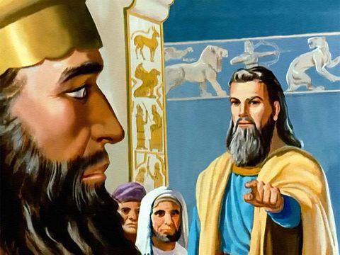 Seul Daniel peut interpréter l'écrit tracé sur le mur par la main divine. MENÉ: Dieu a compté ton règne, et y a mis fin. THEKEL: tu as été pesé dans la balance, et tu as été trouvé léger. PERES: ton royaume a été divisé, et donné aux Mèdes et aux Perses.
