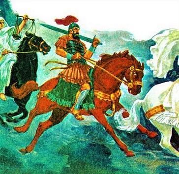 Et un autre cheval, rouge feu, apparut. Celui qui le montait reçut le pouvoir d'enlever la paix de la terre afin que les hommes s'entretuent, et une grande épée lui fut donnée.