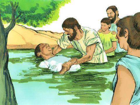 Peu de temps après, le gardien de la prison où étaient enfermés Paul et Silas, impressionné par le tremblement de terre et sa famille se font baptiser.