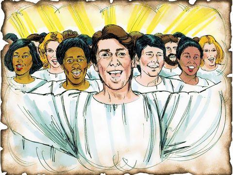 Les chrétiens composant la grande foule ont symboliquement lavé leur robe et blanchie dans le sang de l'Agneau. Ce sont des chrétiens venant de toutes les nations, pays, langues et peuples. Ils ont des palmes dans leurs mains.