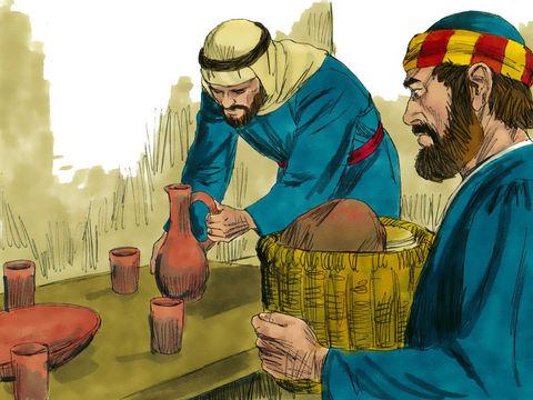 Pierre et Jean ont été chargés par Jésus de tout préparer pour célébrer la dernière Pâque, le 14 Nisan, juste avant la mort du Christ. Jésus établira une nouvelle alliance basée sur son sang et sur son corps.
