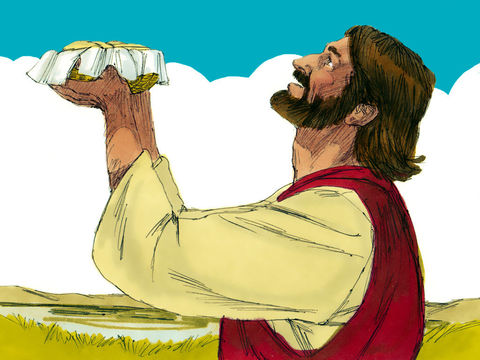 Jésus va multiplier les pains et le poisson afin de nourrir plusieurs milliers de personnes.