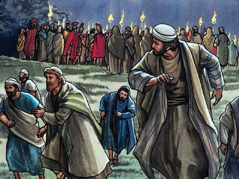 Au jardin de Gethsémané, devant une foule armée d'épées et de bâtons, les apôtres de Jésus l'abandonnent au moment de son arrestation.