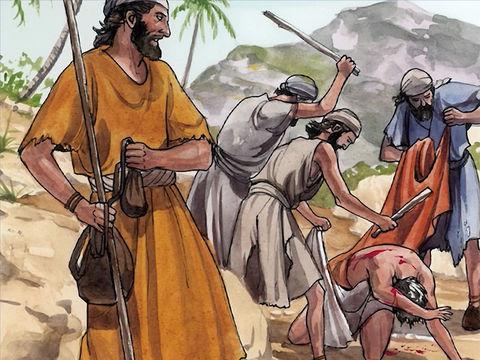 Un homme descend de Jérusalem à Jéricho et se fait attaquer par des brigands.