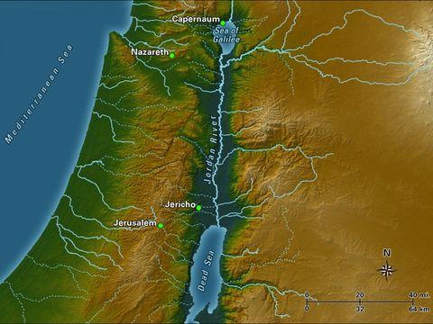 Le Jourdain traverse la mer de Galilée ou lac de Tibériade et se déverse dans la mer morte