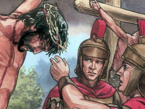 Alors que les soldats s'apprêtent à briser les jambes de Jésus, après avoir brisé celles des deux autres condamnés, ils s'aperçoivent qu'il est déjà mort. Ils ne lui brisent donc pas les jambes, mais un des soldats lui transperce le côté avec une lance.