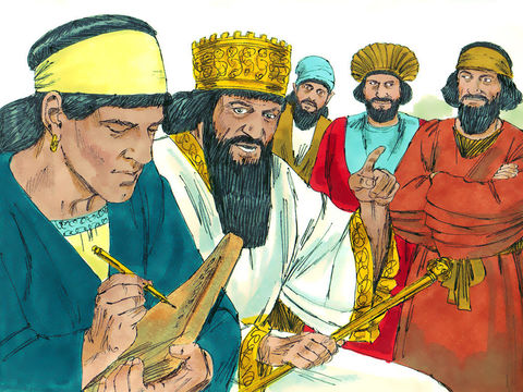 Le roi perse Darius 1er demande aux opposants au projet de se tenir loin de cet endroit et met fortement en garde quiconque modifierait ce décret royal. Thatnaï, gouverneur de la région à l'ouest de l'Euphrate se conforme fidèlement à l'ordre du roi.