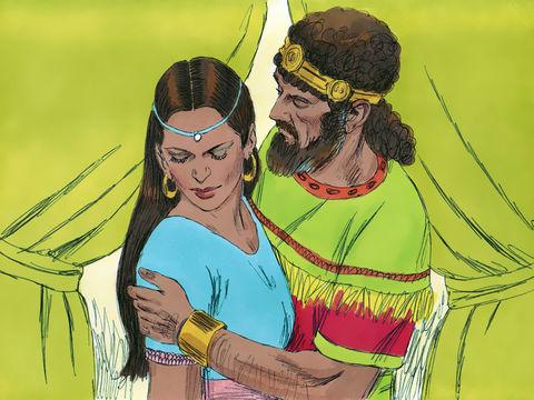 David commet l'adultère avec Bath-Shéba pendant que son mari Urie est à la guerre. Bath-Shéba tombe enceinte du roi David.