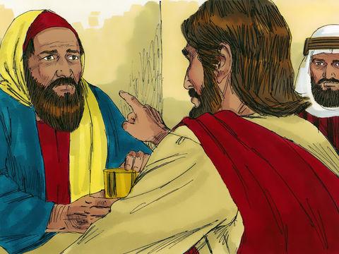 Le pharisien se dit que si Jésus était vraiment prophète il saurait quelle femme le touche : une femme qui mène une vie de débauche. Jésus répond à ses pensées par une illustration.