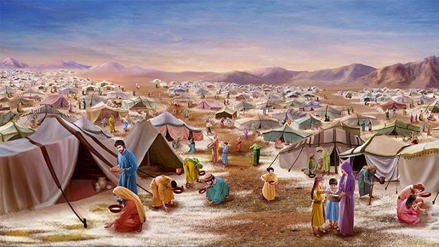 Pendant 40 ans dans le désert les Israélites ont mangé de la manne, nourriture miraculeuse donnée par Dieu et tombée du ciel