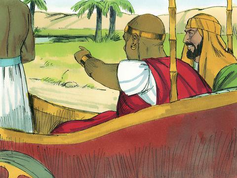 """Arrivé près d'un point d'eau, l'eunuque éthiopien demande """"qu'est-ce qui m'empêche de me faire baptiser?"""""""