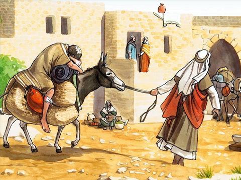 Mais un Samaritain qui voyageait arriva près de lui et fut rempli de compassion lorsqu'il le vit. Il s'approcha et banda ses plaies en y versant de l'huile et du vin; puis il le mit sur sa propre monture, le conduisit dans une auberge et prit soin de lui.