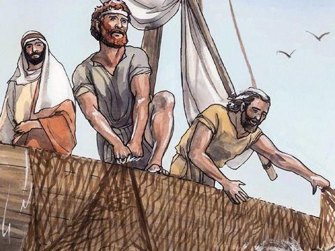 Les 4 premiers apôtres, Simon Pierre, André, Jean et Jacques sont des pêcheurs du lac de Tibériade (appelé aussi « mer de Galilée »). Tous les quatre abandonnent leurs filets pour suivre Jésus.