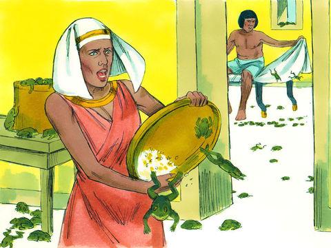 La deuxième plaie d'Egypte. Moïse prévient pharaon que les grenouilles vont envahir le pays. Les grenouilles sont partout, dans les récipients, dans le pétrin.