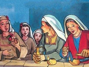 Dans cette parabole, nous avons 10 jeunes filles qui attendent l'époux. Seule la moitié d'entre elles sont assez prévoyantes pour prendre de l'huile pour leur lampe. L'huile symbolise l'esprit saint que Dieu donne à ceux qui le lui demandent.