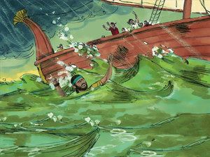 Jonas est jeté par-dessus bord, la tempête se calme. Jonas sera avalé par un gros poisson dans lequel il passera 3 jours et 3 nuits.