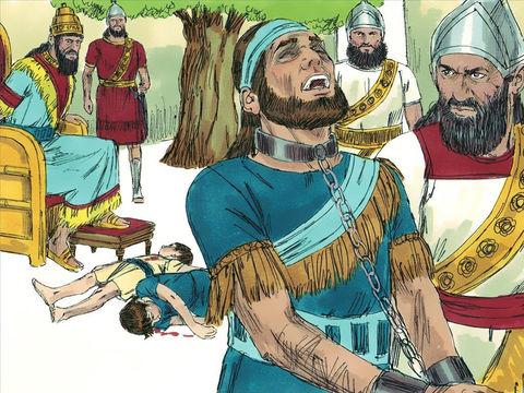 Le roi Sédécias est emmené à Babylone, ses deux fils ont été tués devant lui. Jérusalem est détruite, le Temple de Jéhovah  est complètement détruit.