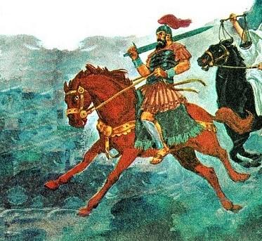 Le chapitre 6 concerne l'ouverture des 6 premiers sceaux qui ont vu apparaître les 4 cavaliers de l'Apocalypse. Le deuxième cavalier de l'Apocalypse tient une épée et symbolise la guerre, il chevauche un cheval roux ou rouge-sang.