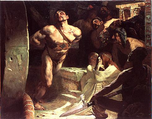 Samson a été condamné par les Philistins à tourner la meule dans sa prison, suprême humiliation pour le héros vaincu. Quelle fin de vie tragique après avoir été juge d'Israël pendant 20 ans !!