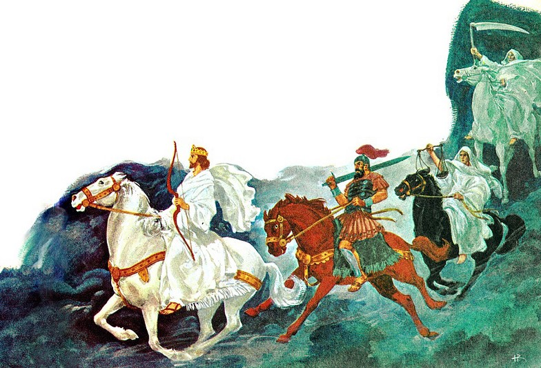 Le premier cavalier de l'Apocalypse chevauchant un cheval blanc porte une couronne. Il est sorti pour être vainqueur. Il s'agit de Jésus-Christ suivi des 3 autres cavaliers.