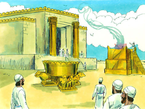 Dans la Cour des prêtres. On y trouve l'autel, construit en pierres brutes, d'une hauteur de 5m. C'est là que sont offerts les sacrifices d'animaux.