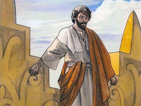 """Le diable le transporta alors dans la ville sainte, le plaça au sommet du temple et lui dit: """"Si tu es le Fils de Dieu, jette-toi en bas! En effet, il est écrit: Il donnera des ordres à ses anges à ton sujet et ils te porteront sur les mains."""""""