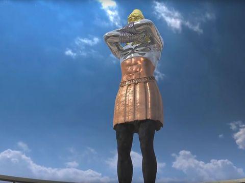 Le rêve prophétique du roi Nébucadnetsar décrit la succession des puissances mondiales, la tête est en or, les bras en argent, le ventre en cuivre, les jambes en fer. Cette statue est immense et d'une splendeur extraordinaire. Son aspect était terrifiant.