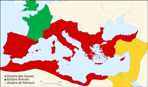L'Empire romain est alors divisé en 3 parties. La Gaule et la Bretagne obéissent à l'empire des Gaules et l'empire de Palmyre contrôle la partie orientale de l'Empire. Aurélien va réunifier et gouverner l'Empire romain de 270 à 275 ap J-C.