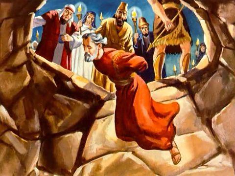 Daniel est dans la fosse aux lions. Totalement en paix. Un ange de Jéhovah est venu fermer la gueule des lions.
